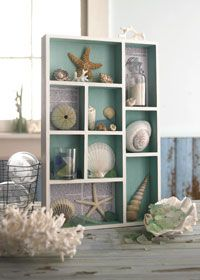DIY: shallow box, drawer divided and beach mementos displayed.