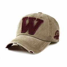 Unisex Letter W Embroidery Denim Washed Baseball Cap Vintage Adjustable Snapback Hat at Banggood