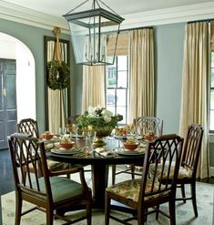 Dining Room Color Ideas | blue gray dining room via myhomeideas Get Your Gray On (What You Need ...