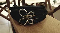 Black Suede Butterfly Bracelet in many rows. by Bohemicin on Etsy