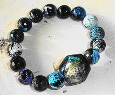 Edgy Modern Boho Goth Crackled Agate by MountainMagicJewelry