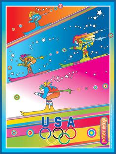 24 x 18 inches © Peter Max - 2006 This 2006 commemorative Olympic poster features Peter's colorful, cosmic characters downhill skiing for Team USA. It's a vibrant tribute to the great athletes of the Winter Olympics and to winter sports enthusiasts everywhere. * Posters sold