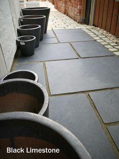 Black Limestone - Natural Indian Stone Patio Paving Slabs see Sandstone Pergola Patio, Pergola Plans, Gazebo, Flagstone Patio, Slate Garden, Garden Paving, Garden Path, Limestone Patio, Steep Gardens
