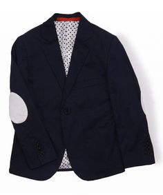 Look at this #zulilyfind! Elie Balleh Navy & White Elbow Patch Blazer - Toddler & Boys by Elie Balleh #zulilyfinds