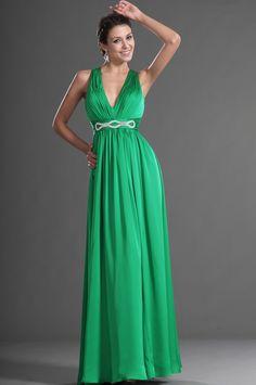 eDressit Grün V Ausschnitt Sexy Abendkleid (00129204)