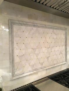 Backsplash above range. Above range backsplah. The backsplash is framed with Honed Carrara Marble Border. Interior Exterior, Modern Interior, Interior Design, Interior Stylist, Kitchen Tiles, Kitchen And Bath, Stove Backsplash, Backsplash Ideas, Küchen Design