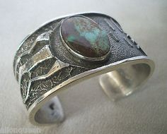 NEW Signed NAVAJO Turquoise Sterling Silver TUFA CAST Cuff BRACELET Kevin Yazzie