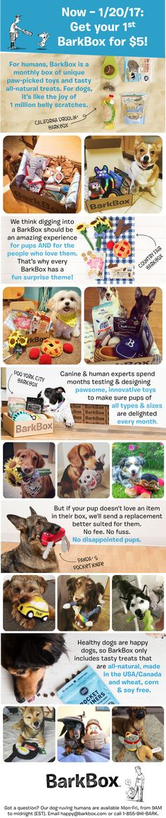 Limited time - get your first box for $5! BarkBox is a monthly themed box of toys, treats, and crazy dog joy. Click through this pin to get started. $5 first Box offer ends 1/20/17.