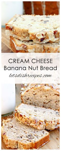 Cheese Banana Nut Bread Recipe: Cream Cheese Banana Nut Bread: Banana bread becomes extra moist and delicious with a ribbon of sweetened cream cheese swirled throughout the batter, and a drizzle of orange glaze on top. Cream Cheese Banana Nut Bread Recipe, Cream Cheese Bread, Gluten Free Banana Bread, Cream Cheeses, Banana Bread With Glaze, Banana Nut Bread Moist, Desserts With Cream Cheese, Banana Nut Cake, Banana Cream