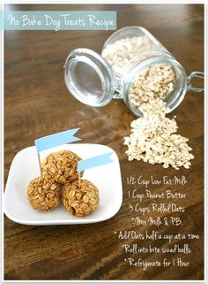 No bake treats for your dog!  From prettyfluffy.com no bake treats, peanut butter dog treats diy, homemade dog treats, doggie treats, puppy treats, peanut butter balls, dog treat recipes, healthy dog treats, bake dog