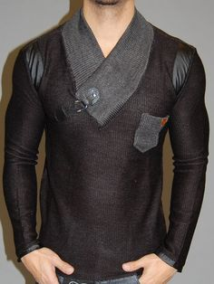 K&D MENS STYLISH LEATHER PATCHED V-NECK SWEATER - BLACK / GRAY