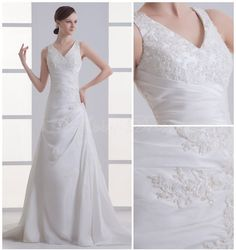 A-line V-neck Pleat Beading Lace Cathedral Train Taffeta Wedding Dress- Abbydress.com
