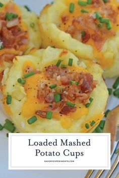 Loaded Mashed Potato CupsLoaded Mashed Potato Cups are the best way to use leftover mashed potatoes. Mixed with cheese, eggs and a few other ingredients, you load them into a muffin tin and poof, you've got finger food mashed potatoes! Instant Mashed Potatoes, Loaded Mashed Potatoes, Making Mashed Potatoes, Cheesy Potatoes, Baked Potatoes, Muffin Tin Potatoes, Finger Potatoes, Cheese Mashed Potatoes, Loaded Potato