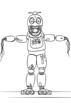 FNaF Withered Chica Coloring Page Fnaf Pages Five Nights At Freddys Freddy