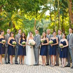 Real Weddings - A Classic Garden Wedding in Bonita Springs, FL - Casual Wedding Party Looks. Seriously love this color scheme! Want the groom in a darker grey though to set him apart from his groomsmen