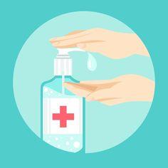 Hand sanitizer in flat design Free Vecto. Illustration Design Plat, Illustration Plate, Flat Design, Design Design, Graphic Design, Bacteria Shapes, Alcohol En Gel, Main Image, Design Plano