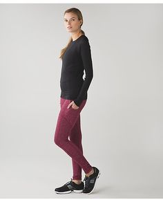 """Speed Tight IV*Rulu, $108, sz 8.  For cold runs!    color:  mini check pique bordeaux drama heathered berry rumble.  ・designed for: run ・fabric(s): Rulu™ ・fit: tight ・rise: medium ・inseam: 30"""" ・leg opening: 8"""".  NOT getting good reviews for actual winter running, sound like these are better for casual wear which is not their purpose."""