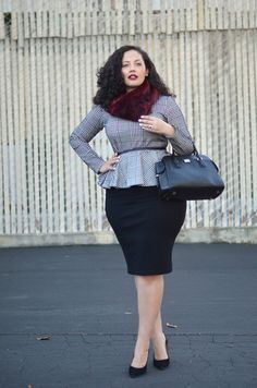 A fur scarf and a cinched waist can glam up any office ensemble- even basics you already own.