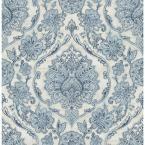 8 in. x 10 in. Carnegie Blue Damask Wallpaper Sample