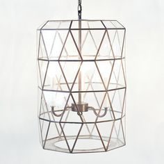 Clear Glass Lantern with 3 Light Cluster - modern - pendant lighting - by Shop Ten 25