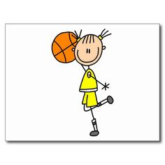 Stick figure girls baskteball design on Girl With Basketball Tshirts, sweatshirts, hoodies, mugs, cards, stickers, and other basketball clothing and gifts.