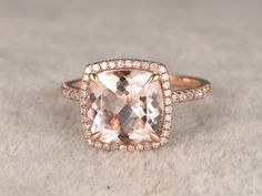 3 carat Morganite Engagement Ring Diamond Wedding Ring 14k Rose Gold  Halo Curved Basket Underneath