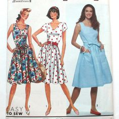 Tank Dress Sewing Pattern, Short Sleeve Option, Simplicity 9744, Misses Plus…