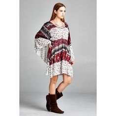 Velzera Raw Edge Bell Sleeve Print Dress (71 BAM) ❤ liked on Polyvore featuring dresses, red, mixed print dress, red dress, bell sleeve dress, flared sleeve dress and pattern dress