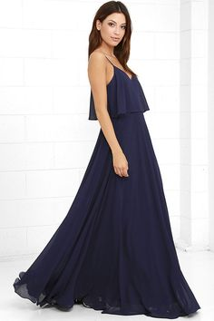 Maxi dress navy blue zipper