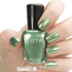 Here's your first look at Zoya #NailPolish in Rikki - a full-coverage fern green foil metallic. #zoya #zoyairresistible #summer #green