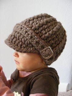 Toddler Hat, 1T to 2T Toddler Crochet Visor Hat Buckle Beanie - Taupe Trendy Warm Winter Visor Beanie for Toddler Girls, Toddler Boys. $29.00, via Etsy.
