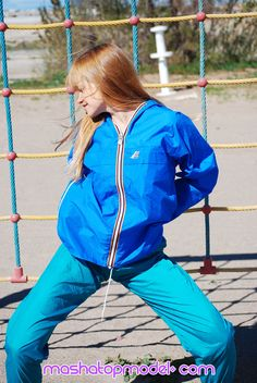 See Me Wearing Blue K Way Rain Jacket And Green Nylon Rain Pants
