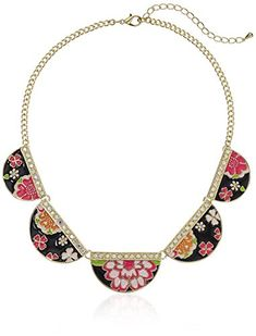Betsey Johnson Memoirs of Betsey MultiFlower Geometric Necklace 18  3 Extender ** Visit the image link more details.