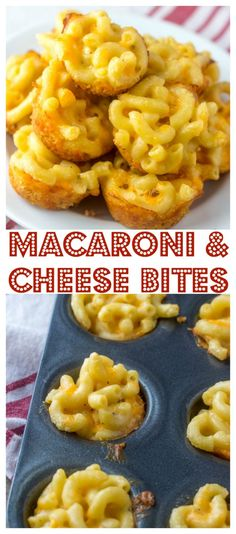 Mini Macaroni and Cheese Bites, everyone's favorite side dish recipe in appetizer form! Perfect for the Super Bowl or any sports party!