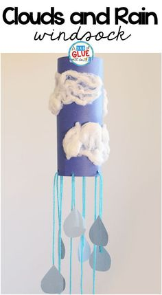 Rain Cloud Windsock Weather Craft is a great addition to your weather science unit this spring. This art activity is perfect for preschool and elementary #ArtAndCraftForGirls