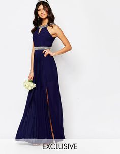 TFNC+WEDDING+Embellished+Pleated+Maxi+Dress