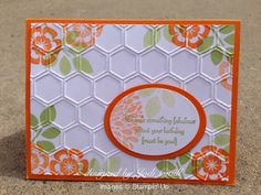 something about stamping: simple texture, Stampin' Up, Betsy's Blossoms, Create a Cupcake, Honeycomb Embossing Folder, Pumpkin Pie, Pear Pizzazz, Whisper White