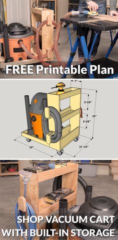 Make your shop vacuum easier to move around, plus create storage for hoses and other accessories, with this handy vacuum cart. It's sized to hold a 16-gallon shop vacuum, and offers lots of additional storage space. You can build one easily using a couple of 1x3 boards and a half-sheet of plywood. Download the free plan on buildsomething.com