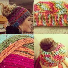 Ponytail Hat. Viral Hat. Runners Hat. Winter hat. Great Stocking Stuffer by StandingStonesYarn on Etsy https://www.etsy.com/listing/497239707/ponytail-hat-viral-hat-runners-hat