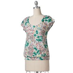 LC Lauren Conrad Floral Banded-Bottom Top