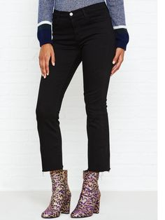 J BRAND Selena Mid Rise Raw Edge Cropped Bootcut Jeans - NEW IN!