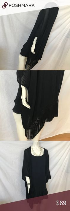 Nordstrom Black Fringe Poncho Wrap Shrug S/M/L NWT Nordstrom. NWT. 100% Authentic.  Cool black poncho wrap with armholes! Pretty rounded cocoon asymmetric design drapes to flow for easy wear in the perfect long length and HEAVILY FRINGED with crochet details to make a statement. Great cover up that can accommodate an evening gown to a regular dress to jeans & a tee. A GREAT ESSENTIAL.   New with Tags Size: OS; One Size Fits All.  My Only One. Won't last. Sold Out. Great Gift with no worries…