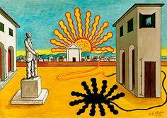 ジョルジョ・デ・キリコ ≪燃えつきた太陽のあるイタリア広場、神秘的な広場≫ 1971 年 パリ市立近代美術館≫ coy Mueacutee d#39At Modee de la Ville de Pa...