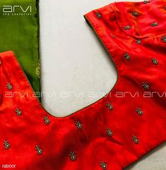 Kaleidoscope: a vibrant mix of colours and shapes placed asymmetrically. a fan of doodles and colours. Stunning red color designer blouse with hand embroidery thread work. Mirror Work Blouse, Aari Work Blouse, Designer Blouse Patterns, Blouse Models, Bridal Blouse Designs, South Indian Bride, Beautiful Blouses, Bridal Outfits, Floral Design