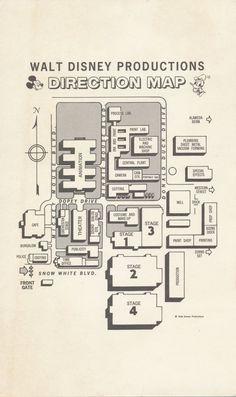 Map of Disney studio Metal Forming, Walt Disney Animation, Disney Family, Paint Shop, Vintage Disney, It Cast, Map, Prints, Painting