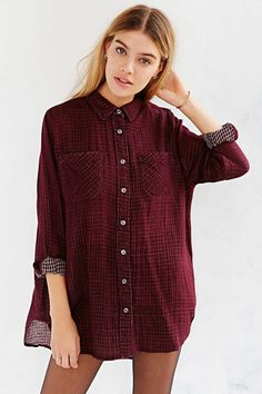 BDG Christina Checkered Button-Down Shirt