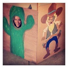 Cowboys and Indians themed birthday party- wood cutouts, hand painted