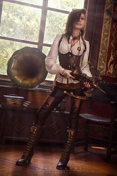 Steampunk Vampire Slayer (white/brown/black color palette: blouse, underbust corset, leggings with cutouts, boots, necklaces, crossbow) - For costume tutorials, clothing guide, fashion inspiration photo gallery, calendar of Steampunk events,