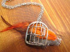 Cage pendant argent