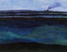 Léon Spilliaert (1881-1946) Cruising liner at sea (Marine avec paquebot), 1904 Offa Gallery, Belgium